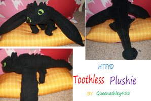Custom toothless plush by queenashley455
