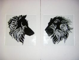wolf and lion tattoo glass by deni-8
