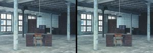 Cross-eye abandoned 3D office by Disfigurator