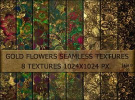 Gold flowers seamless textures by jojo-ojoj