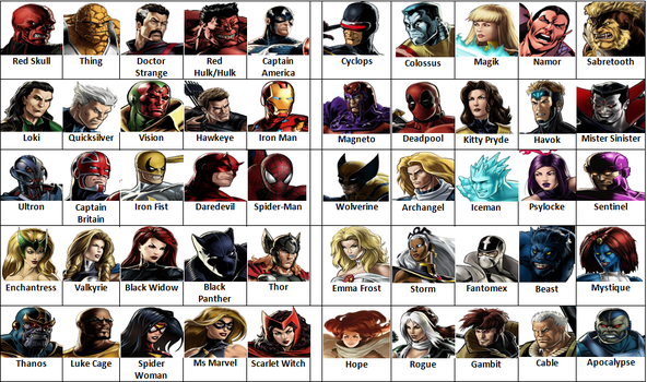 Avengers vs X-Men Game (Character Select Screen) by derekmetaltron
