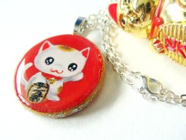 Lucky Cat Pendant Necklace by sobeyondthis