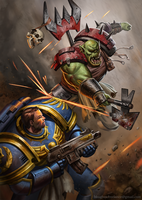 Orc Vs Space Marine by Benjie-art