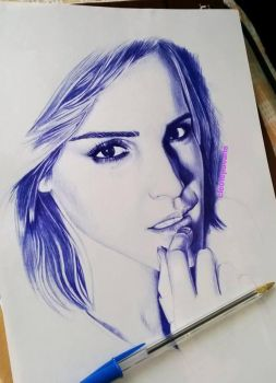 Emma ballpoint pen drawing by cLoELaLi11