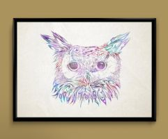 Owl watercolor print by ColourInk