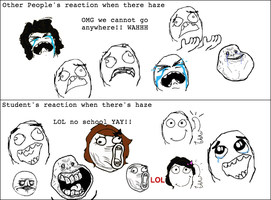 Student's and Other people's Reaction to Haze by LeoAndBlacky