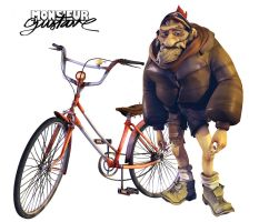 Monsieur Gustave and bike by Numbird