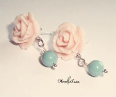 Pink Rose Mint Pearl Ear Posts by AmeliaLune