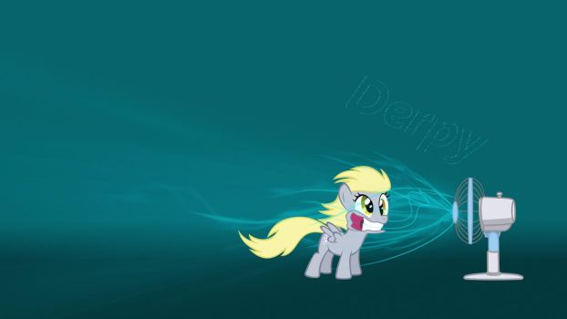 Derpy and her overpowered fan by drbeepboop