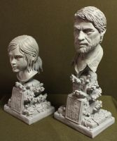 The Last of us Ellie and Joel bust's by Leebea