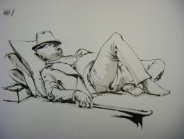 nap with fedora on by PArk68k