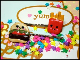 Happiest Meal Hairclips by GrandmaThunderpants