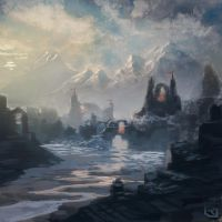 Snowy ruins speed painting. by Rob-Joseph
