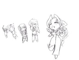 Aerith with FFVIII Chibis by IllusionedTime