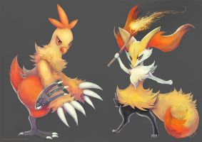 Combusken and Braixen by eldrige