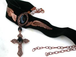 Black Velvet Choker with Cross by LeBoudoirNoir