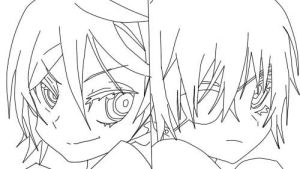 Alois and Ciel-Panty and Stocking version lineart by Durarara101