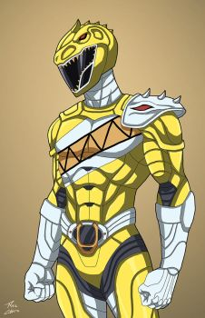 Yellow Indominus Rex Ranger commission by phil-cho