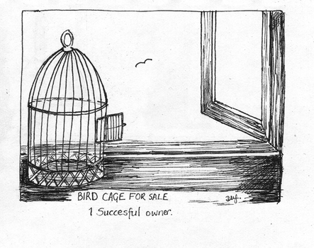 Bird Cage for sale for Day 18 of Inktober by Wenchkin