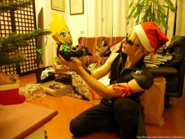 Cloud Strife at Christmas Shinra party by EduardLuzhetskiy