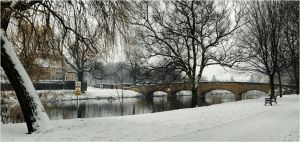 abbey park in snowy scenery by Chrobal
