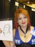 Jessica C. Feinberg holding Quick Drawing by Poorartman