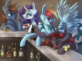 At The Bar With Friends by EbonyTails