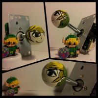 Link hand painted joystick ball top by AnomalyArcadeSticks