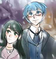 Aster and Doran in the Snow by kabocha