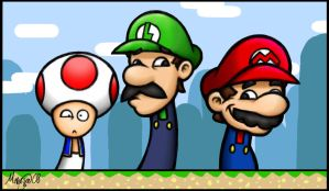 Mario Bros and Toad by LightningGuy