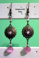 Pink - Brass Earrings by BloodRed-Orchid
