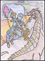 Marth slays Medeus: The Shadow Dragon by WalkerP