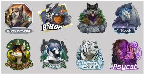 2012 conbadge compilation by Rhandi-Mask