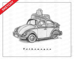 Type1B Beetle-60s-Sketchy by SketchyVWs