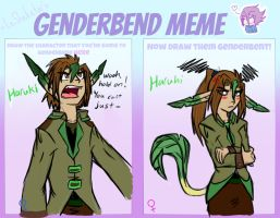 Genderbend Meme: Haruki the Leafeon by Hawkfire45