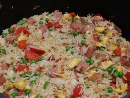 Fried rice- spam and capsicum version by Roses-and-Feathers