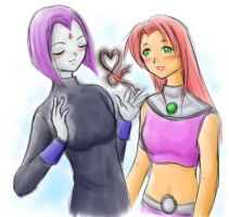 Raven and Starfire the ribbon by starfireraven
