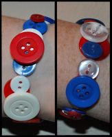 Captain America Inspired Button Bracelet by the-geekery