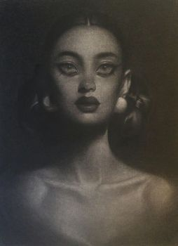 Stylized charcoals portrait by Amethylia