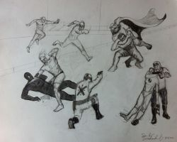 Study of Superheroes In Action by sandreezy