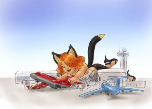 Rusty catches a plane by AlloyRabbit