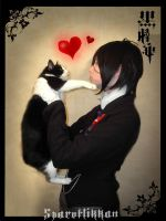 Sebastian with cat1 by spaceflikkan