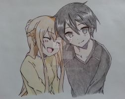 Kirito And Asuna by Exerxes