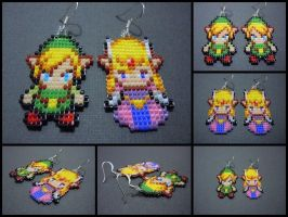 Hand Woven Seed Bead Link and Zelda Earrings by Pixelosis