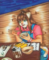 Neko-chan and HER food by hobbit-katie
