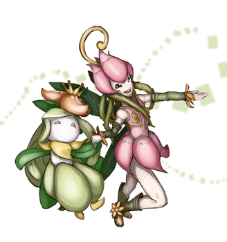 Lilligant and Lillymon dance by Rawrkeeper