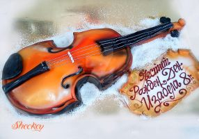 Violin Cake by 6eki