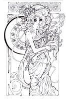 Gunnerkrigg Court: Antimony a la Mucha by Android-Bones