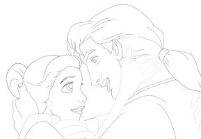 beauty and the beast lineart by flauschi-leoni