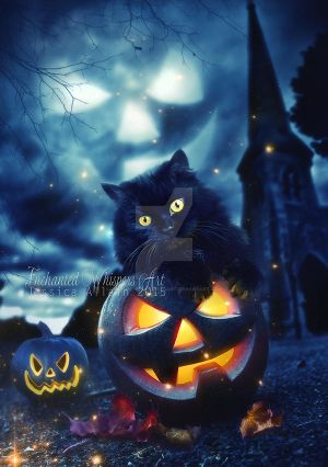 Pumpkin-Kitty by EnchantedWhispersArt